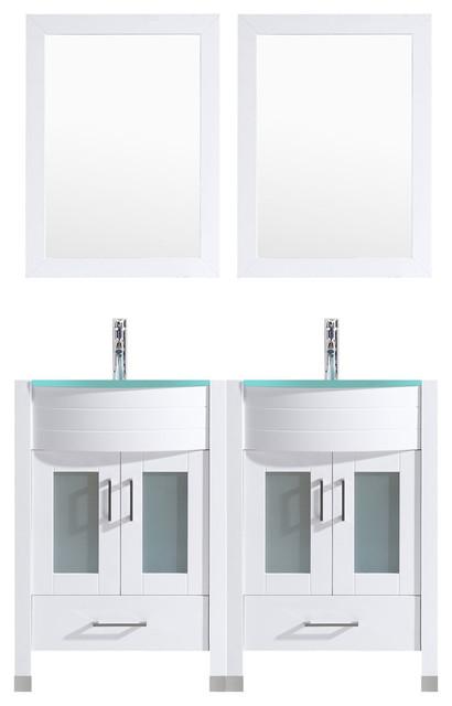 "48"" White Vanity, 24"" Double Sink Bases, Lv3-C10-48-W."