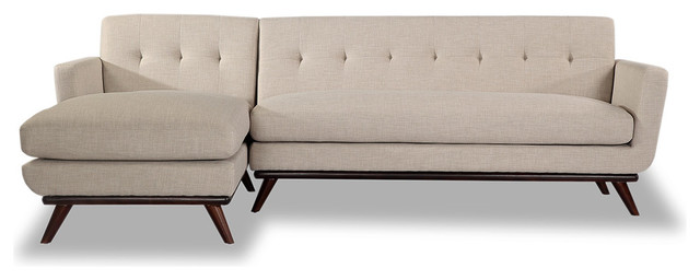 Kardiel Jackie Mid Century Modern Sectional Sofa, Dove Gray, Material:  Twill, Le