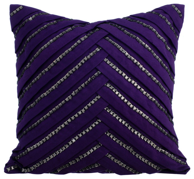 Rhinestone Crystals 18 X18 Suede Fabric Purple Pillow Covers Influence
