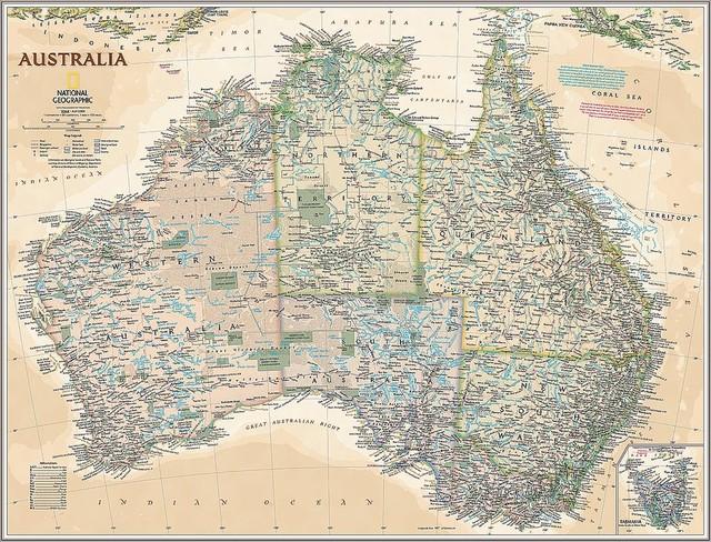 executive australia map wall mural, self-adhesive wallpaper