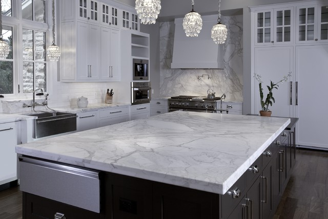 Stone Collection Granite Huge Island In Calacatta Gold Marble Contemporary