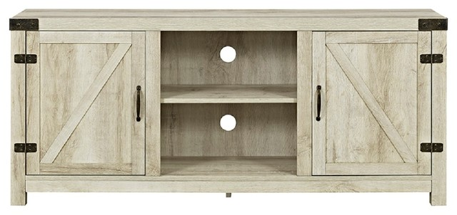 Barn Door TV Stand With Side Doors White Oak 58\  rustic-entertainment & Walker Edison - 58\