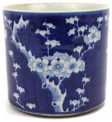 Vintage Style Blue And White Cherry Plum Blossom Motif Porcelain Pot 8