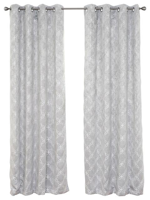 "Myra Room Darkening Curtain Panel, Silver, 84""."