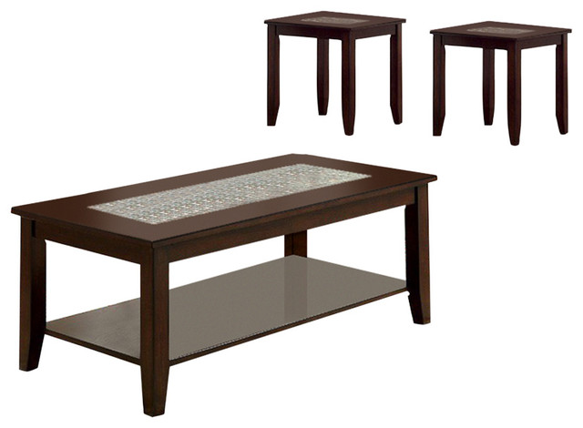 Townsend Iii Kivaha Coffee Table Dark Cherry Set Of 3