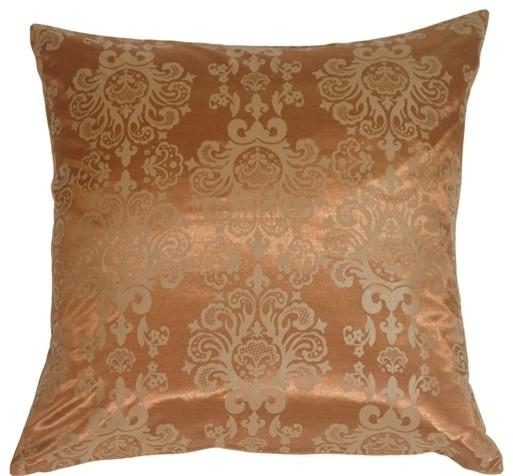 "Baroque Pattern Throw Pillow, Copper, 20""x20"""