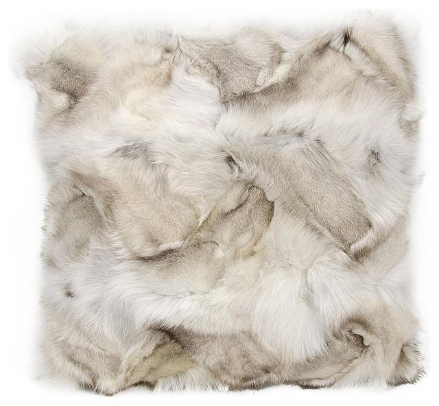 Mina Victory Couture Fur Fox Skin Silver Throw Pillow.