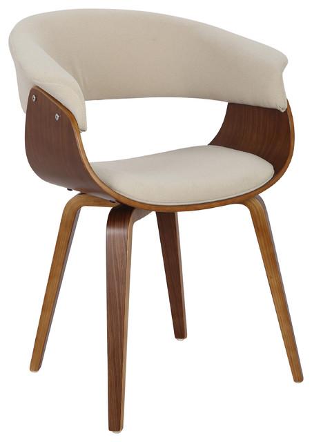 LumiSource Vintage Mod Accent Chair, Walnut and Cream, Walnut, Cream