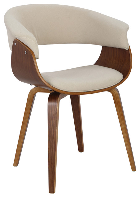 LumiSource Vintage Mod Accent Chair, Walnut and Cream, Walnut, Cream