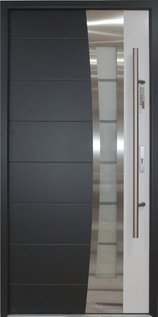 Stainless Steel Modern Entry Door Gray And White Finish