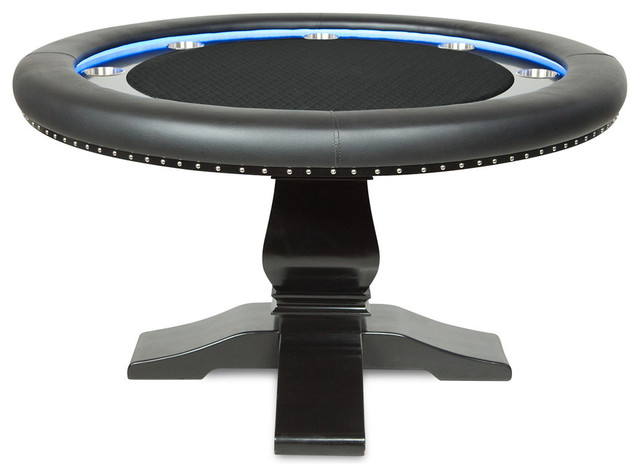 Ginza LED Poker Table for 8 Players with Black Felt ...