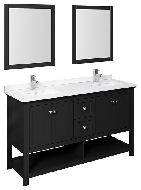 Fresca Manchester 60 Black Double Sink Vanity With Mirrors