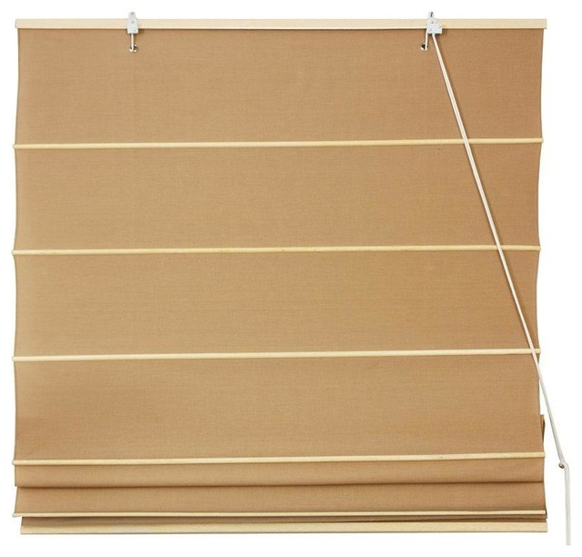 Cotton Roman Shades, Light Brown, (24 In.x72 In.).