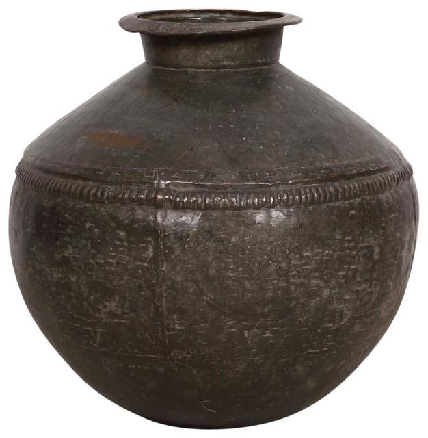 Consigned Decorative Metal Hammered Vase Mediterranean Vases