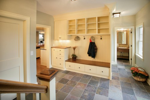 light filled mudroom with lockers  entry