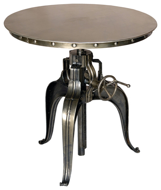 Marvelous Round Crank Top Metal Bistro Table Industrial Indoor Pub And Bistro
