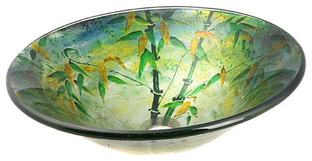 Bamboo Illusions Tempered Glass Vessel Sink.