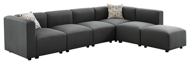Archie Modular Sectional Sofa with Ottoman in Steel Gray Linen