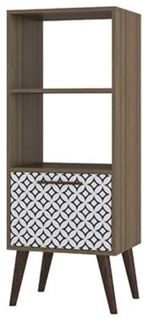 Sami 2.0 Double Bookcase with 1- Drawer in Oak Frame with Charcoal & White Print by Manhattan Comforts