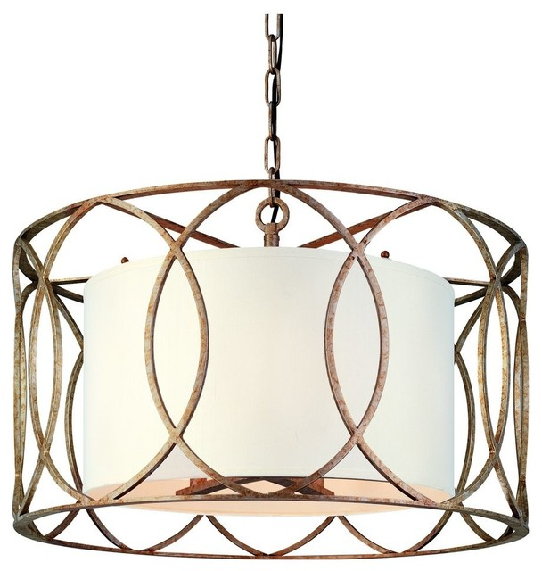 5-Light Wrought Iron Chandelier With Center Drum Shade.