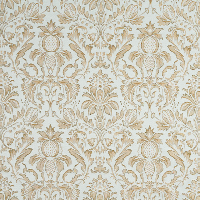 Light Blue Ivory Green Gold Pineapple Damask Upholstery Fabric By