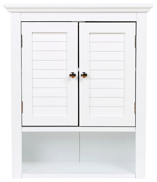 Wall-Mounted Double Door Cabinet, White - Beach Style - Bathroom Cabinets And Shelves - by Glitzhome