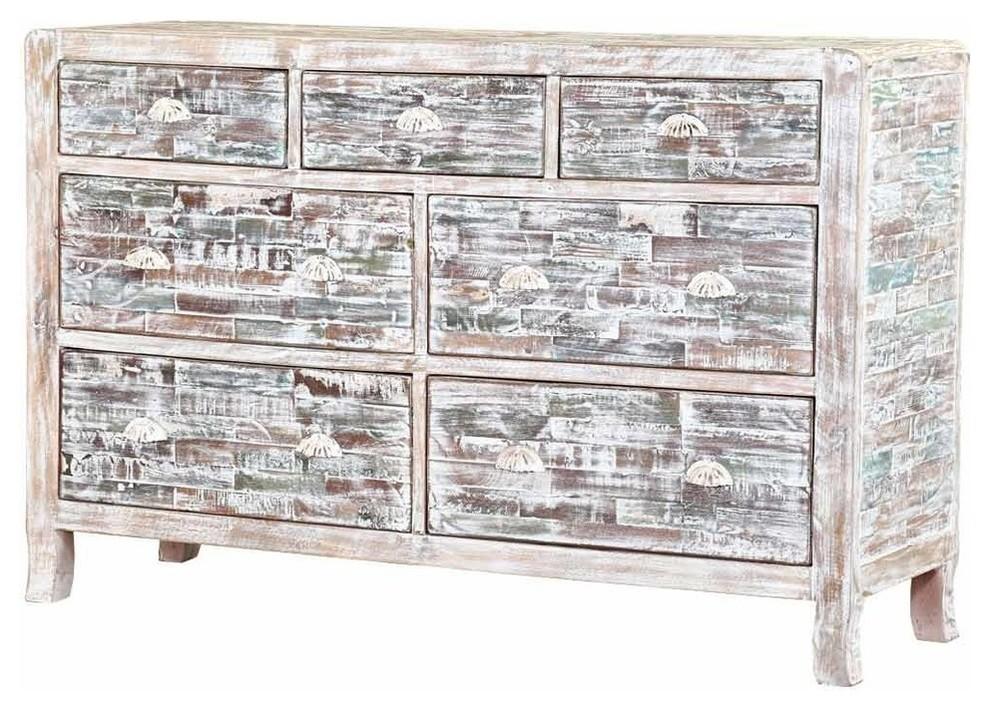 Rehoboth Distressed Finish Solid Wood 17 Drawer Horizontal Dresser