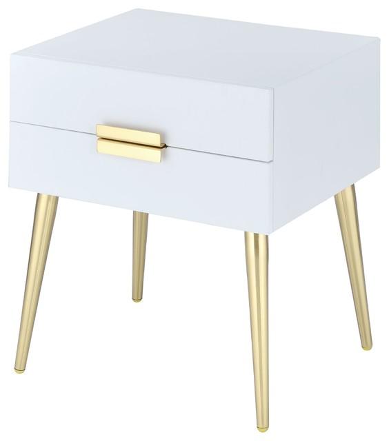 Denvor End Table, Gold Finish, White.