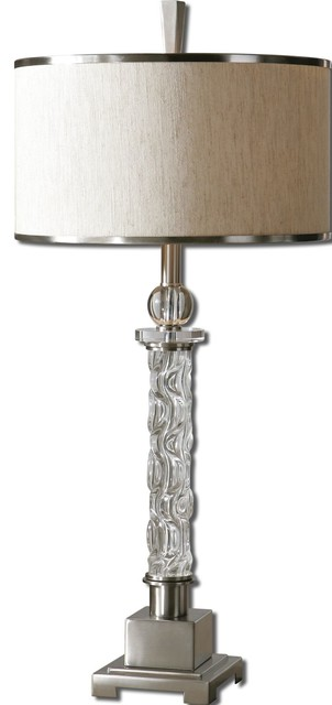 Uttermost Campania One Light Brushed Aluminum Table Lamp.