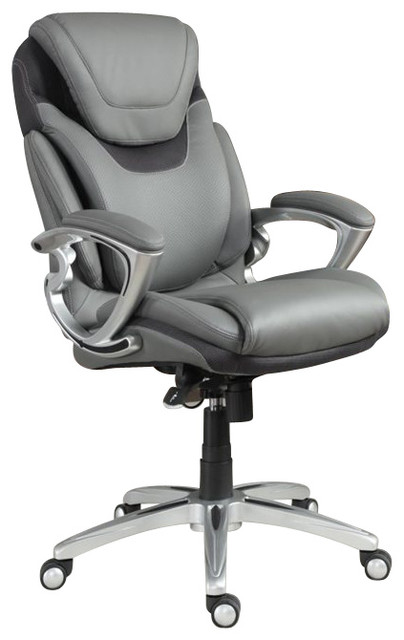 Serta AIR Executive Office Chair Gray Bonded Leather - Grey office chair