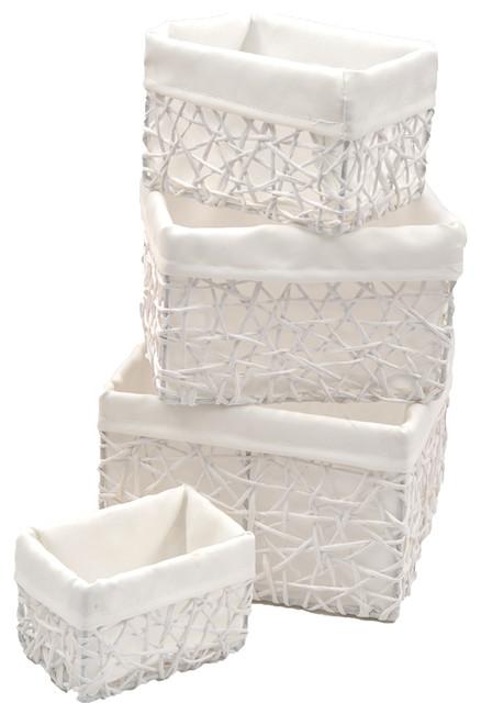 Paper Rope Storage Utilities Shelf Baskets Storage, 4-Piece Set, White.