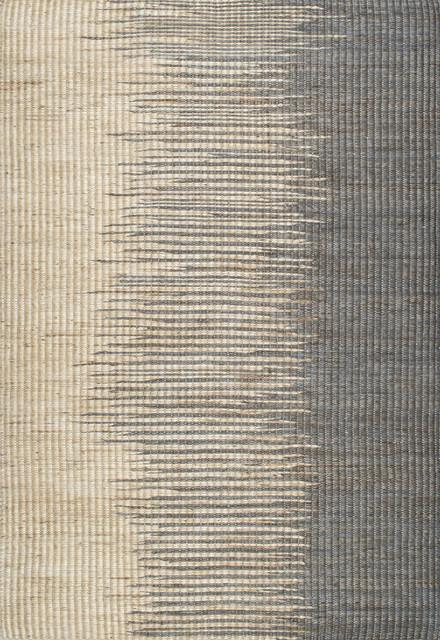 Natural Striped Flamestitch Jute Rug, Gray, 5&x27;x8&x27;.