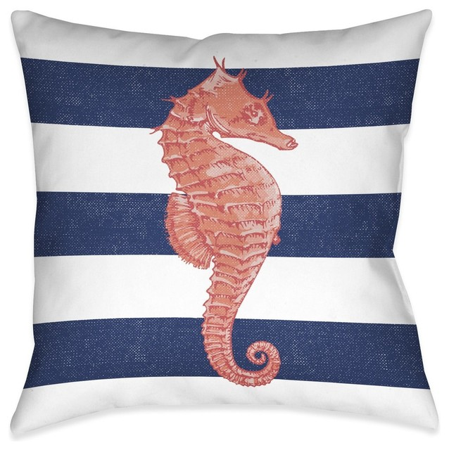 Seahorse Stripe Decorative Pillow.