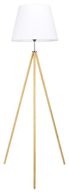 """63"""" Tripod Floor Lamp With White Foldable Fabric Shade"""