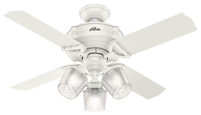 Hunter 44 Brunswick With 3 Lights Fresh White Ceiling Fan With Light And Remote.