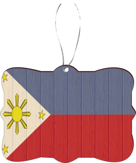 Philippines Flag Distressed Wood Design Rectangle