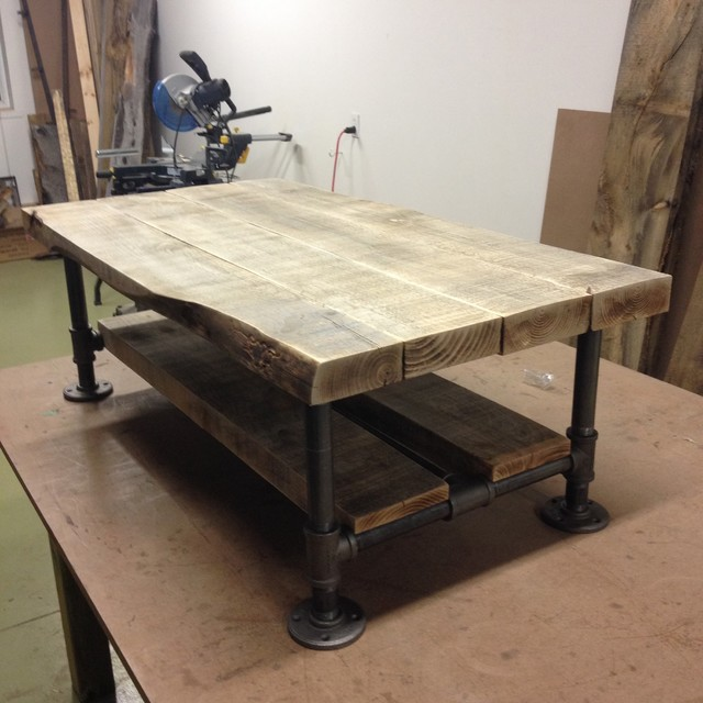 Reclaimed Wood Amp Pipe Coffee Table With Gray Barn Wood