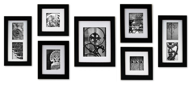 gallery perfect 7 piece wide frame set black various modern picture