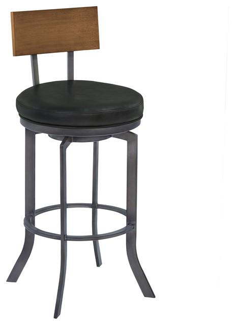 Tremendous Ojai 30 Metal Swivel Barstool Vintage Black Faux Leather Theyellowbook Wood Chair Design Ideas Theyellowbookinfo