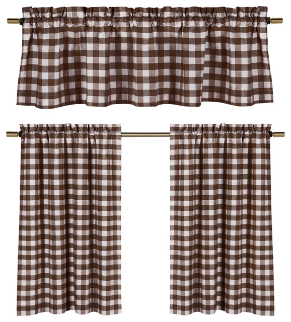3 Piece Faux Cotton Espresso Brown Kitchen Window Curtain: Chocolate Brown White Gingham Kitchen Curtain Set, 3 Piece