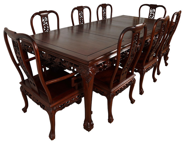 Consigned Vintage Chinese Carved Rosewood Dining Table With 8 Chairs Set Asian Dining Sets By Golden Treasures Antiques And Collectibles Inc