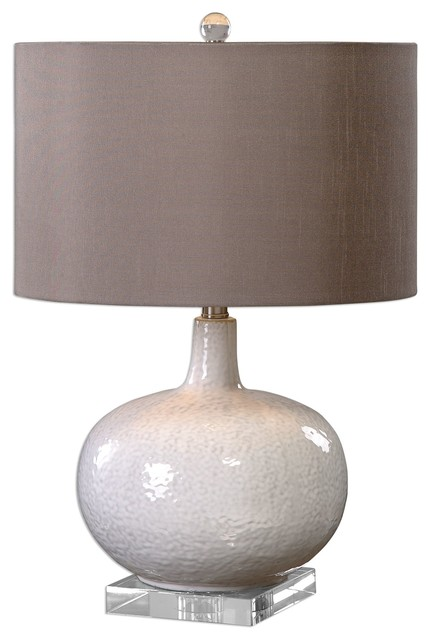 Textured White Gourd Table Lamp Fat Base, Ceramic Chocolate Bronze Shade