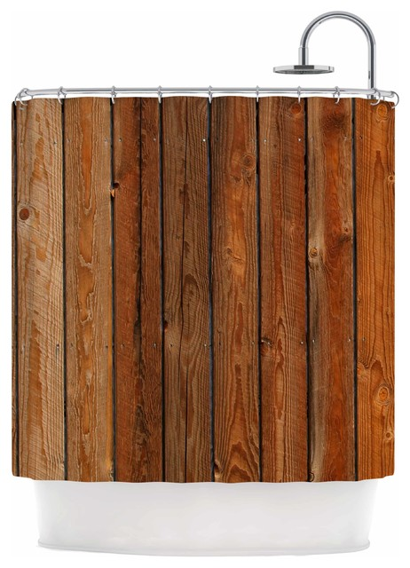 Susan Sanders Rustic Wood Wall Nature Brown Shower Curtain
