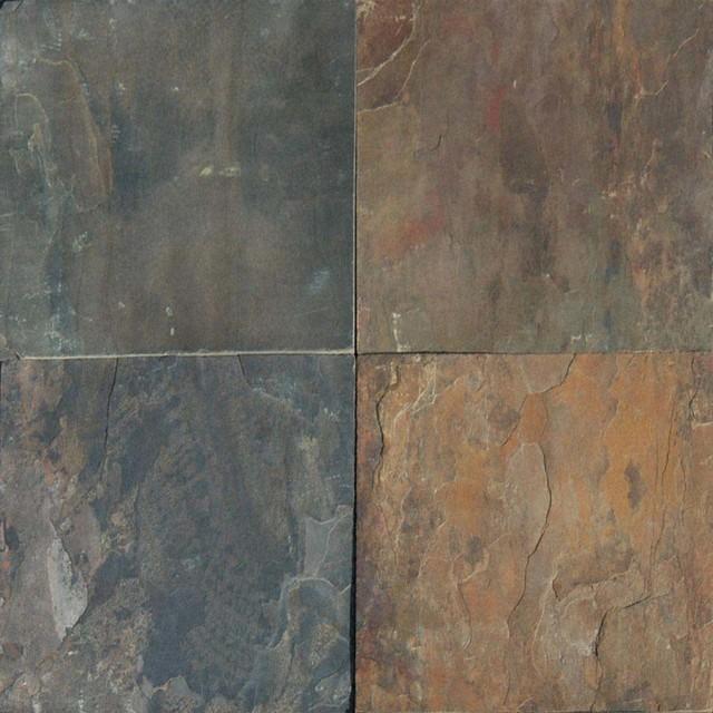 Rustic Gold Brown Multi Gauged 12x12 Slate Tile 10 Sqft
