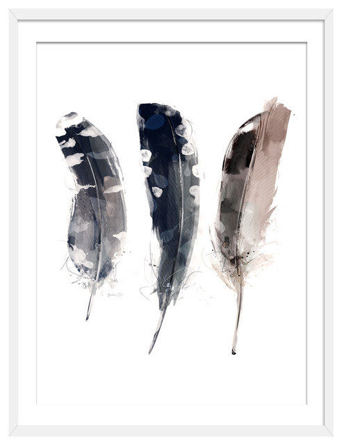 """Feathered Friends"" Boho Art Print, White Framed, 50x70 cm"