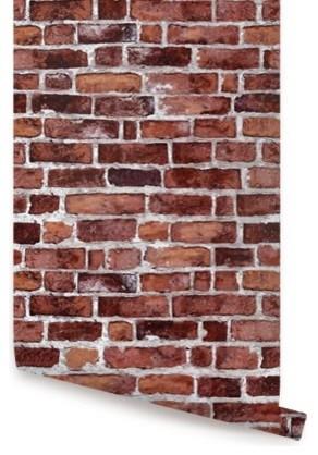 Brick Peel-and-Stick Wallpaper, Red, 1 Sheet