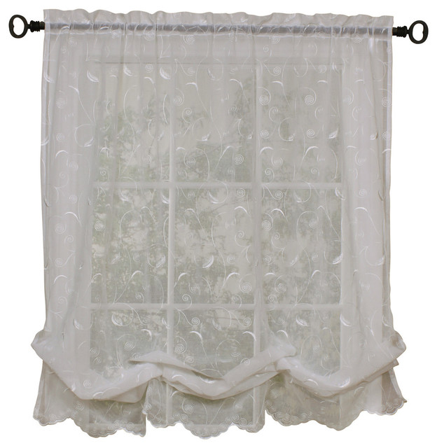 """Hathaway Exquisite Scroll Motif On Faux Linen, White, 54""""x63""""."""