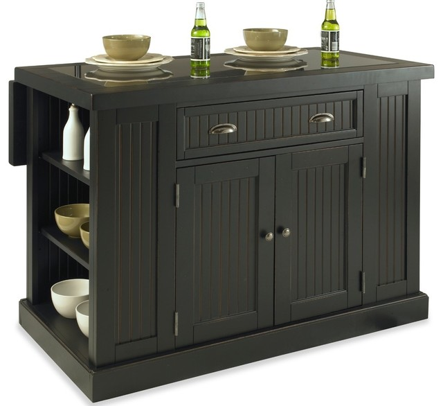 Nantucket Kitchen Island Distressed Black Finish, Black Transitional Kitchen  Islands And
