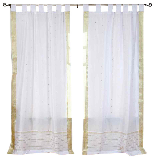 White With Gold Tab Top Sheer Sari Curtain Drape And Panel Pair Traditional Curtains By