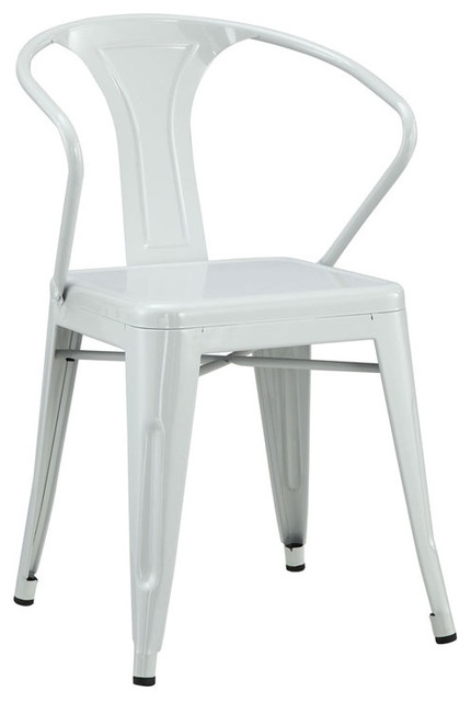 Tolix-Style Vintage-Style Arm Steel Chair White  sc 1 st  Houzz & Tolix-Style Vintage-Style Arm Steel Chair - Contemporary - Outdoor ...